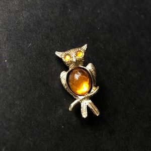 Jewelry - Vintage Jelly Belly Owl Pin/ Amber Colored Brooch